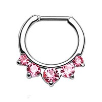 BodyJ4You Septum Clicker Ring 16 Gauge Stainless Steel Five Pink Gems Piercing Body Jewelry