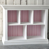 Children's Bookshelf with Cubby shelves in Distressed White and Baby Pink