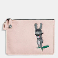 COACH X BASEMAN EMMANUEL HARE RAY TURNLOCK FOLIO IN LEATHER