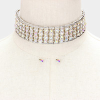 """13"""" silver ab crystal choker collar necklace .25"""" earrings bridal prom pageant"""