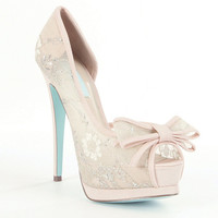 Blue by Betsey Johnson Vail Lace Bow Peep-Toe d´Orsay Pumps | Dillards