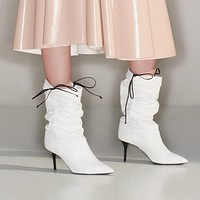Women Fashion Pointed Toe Leather Drawstring Knee High Boots