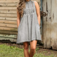 Fringe Without A Word Charcoal Grey Dress
