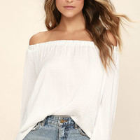 Body Moves White Off-the-Shoulder Top