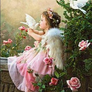 5D Diamond Painting Little Angel and Doves Kit