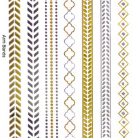 Arm Bands Metallic Temporary Flash Tattoo Gold Silver Festival Beach Holiday Gift Present Gift For her