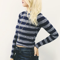 Lookout Mountain Navy Striped Ribbed Knit Mock Neck Sweater Top