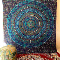 BLUE LARGE mandala hippie tapestry wall hanging indian elephant bedspread throw boho bohemian bedding cover ethnic decor