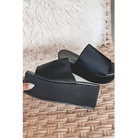 Back To Back Black Platform Slides