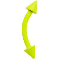 """16 Gauge 5/16"""" Neon Yellow Spike Curved Barbell Eyebrow Ring 