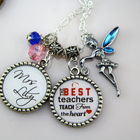 Best Teacher Necklace, Teachers Birthday Necklace Gifts, Leopard Necklace, Chevron, DIY Name, Crystals ,Personalized Gifts