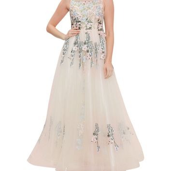 Beaded Trailing Floral Gown