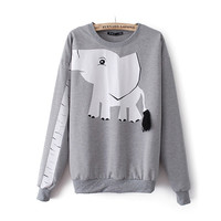 Cute Long Nose Elephant With Tassel Tail Long Sleeve Hoodie
