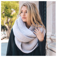 """I'm Never Cold"" XL Thick Chunky Knit Ivory Infinity Scarf"