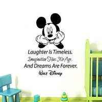 Wall Decals Vinyl Decal Sticker Mural Interior Design Mouse Quote Laughter Is Timeless Imagination Has No Age and Dreams Are Forever Kids Nursery Baby Room Boy Girl Bedding Decor