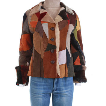 """70's Vintage Patchwork Sheepskin Shearling Jacket Women's Size Small / Butter Soft Colorful Suede Leather 1970 Boho Retro Clothing 37"""" Bust"""