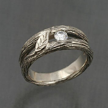 SOLITAIRE LEAF Twig and Leaf Band in 14k GOLD, yellow,rose or white, with natural white sapphire