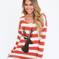 STRIPE BUTTON BACK DEER TOP- RUST