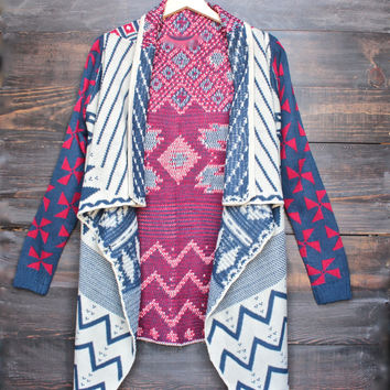 womens open front waterfall aztec cardigan