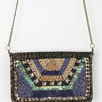 Ecote Bead-Embellished Chain-Strap Wallet