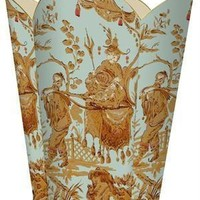 Aqua Asian Toile Wastebasket
