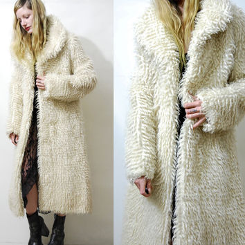 Wool Coat 70s Vintage SHAGGY Cream Lambswool Sherpa Fur Jacket White Long Curly Mongolian Woven Knit 1970s Hippie Bohemian Boho M