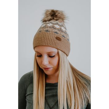 Snowflakes Falling Beanie - Toffee