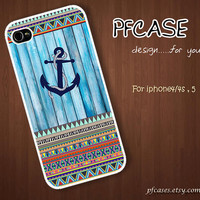 Anchor with wood light blue pattern : Handmade Case for Iphone 4/4s , Iphone 5