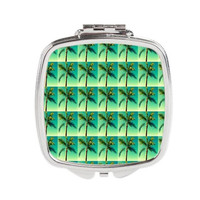 Palm Tree Compact - FREE shipping to USA small pocket accessory mirror mirrors cosmetic girl womens silver square florida sunny trees green