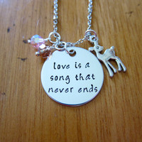 Bambi Inspired Necklace. Love is a song that never ends. Love necklace. Bambi Jewelry. Love gift. Hand Stamped, Swarovski Crystals.