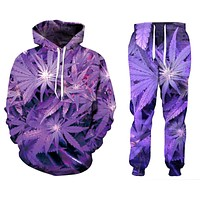 Purple Pot Leaf Sweat Suit - Tops & Bottoms - CannaOutfits