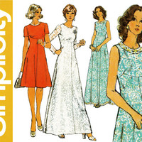 1970s Dress Pattern Simplicity 6094 Day or Evening Formal Bridal Cocktail Prom Shaped Empire Maxi Waist Dress Womens Vintage Sewing Patterns