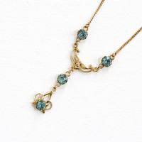 Vintage 10k Yellow Gold Filled Simulated Zircon Lavalier Pendant Necklace - Art Deco 1930s 1940s Blue Glass Stone Filigree Jewelry