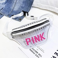 Victoria Pink New fashion letter diamond shoulder bag waist bag chest bag women White