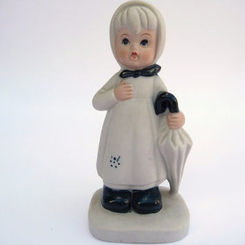Porcelain Figurine - Girl with Umbrella - Vintage Figure
