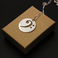 bass clef Necklace silver music note Pendant charm necklace music note necklace with 925 Sterling Silver Chain