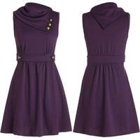 Purple Sleeveless Buttoned Neck A-line Dress