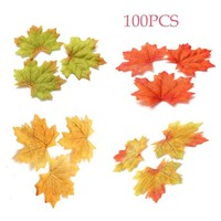 100Pcs Artidicial Cloth Maple Leaves Multicolor Autumn Fall Leaf For Art Scrapbooking Wedding Bedroom Wall Party Decor Craft
