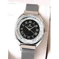 Rolex tide brand rhinestone female models magnetic quartz watch Black