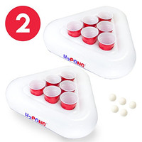 H2PONG Inflatable Beer Pong Racks, Includes 5 Ping Pong Balls - Floating Pool Party Game Float Set