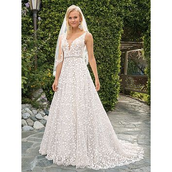 Casablanca 2354 Liliana Floral Lace Illusion Bodice A-Line Wedding Dress