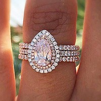 Hot sale new creative three-layer ring with pink crystal dripping pear-shaped ring