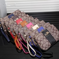 """Coach"" Women Casual Purse Fashion Multicolor Print Zip Wallet Clutch Wristlet Bag"