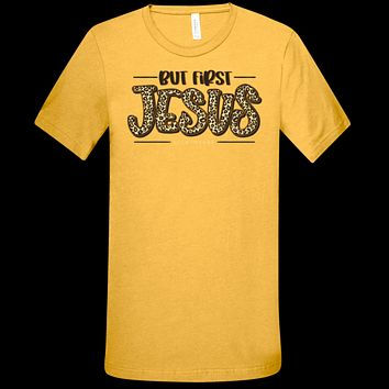 Southern Couture Lightheart But First, Jesus Faith Canvas T-Shirt
