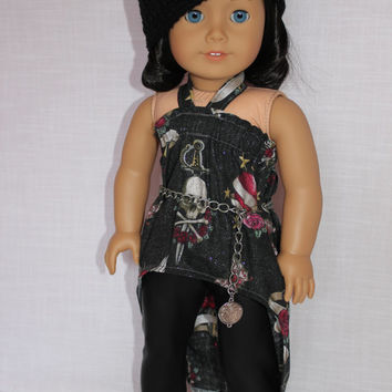 high low shirt, black leather look leggings,black beanie style hat, chain belt 18 inch doll clothes American Girl doll clothes