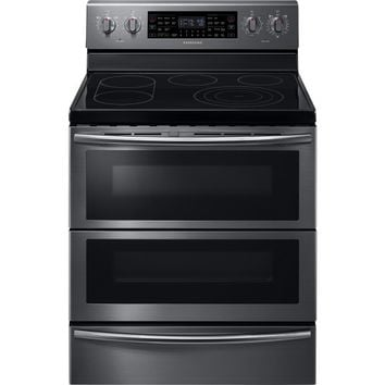 Samsung - Flex Duo 5.9 Cu. Ft. Self-Cleaning Freestanding Double Oven Electric Convection Range - Black Stainless Steel