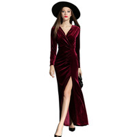 2016 Autumn Winter Dresses Evening Party Red Long Velvet Dress For Women Vintage Sexy High Split Long Maxi Dresses Vestido Longo