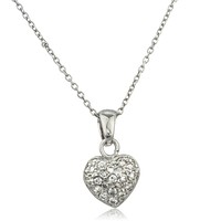 925 Sterling Silver Small Heart Pendant with Cubic Zirconia and an 18 Inch Link Necklace