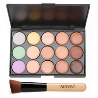 15 Colors Makeup Face Cream Concealer Palette + Powder Brush