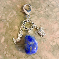 Lapis Lazuli Stone, Cute Sea Turtle, Mermaid Summer Purse Clip, Zipper Pull FREE Bag with Affirmation Card Energy Infused, New Age